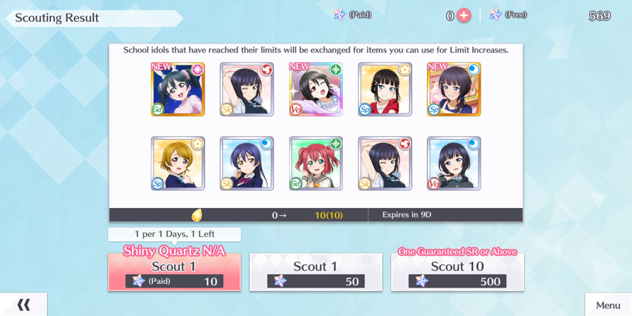 I randomly did two scouts  I'm not very good at saving lol  and I got Nico's fes card and Shioriko's...