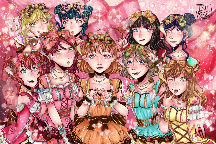 I drew all of Aqours for Valentines!