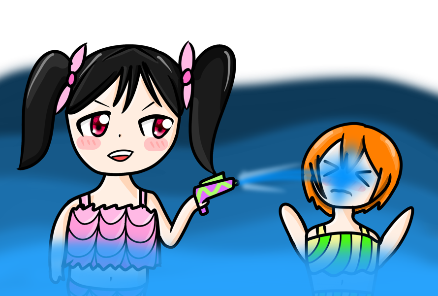 The theme is water so here is Nico and Rin playing in the water!