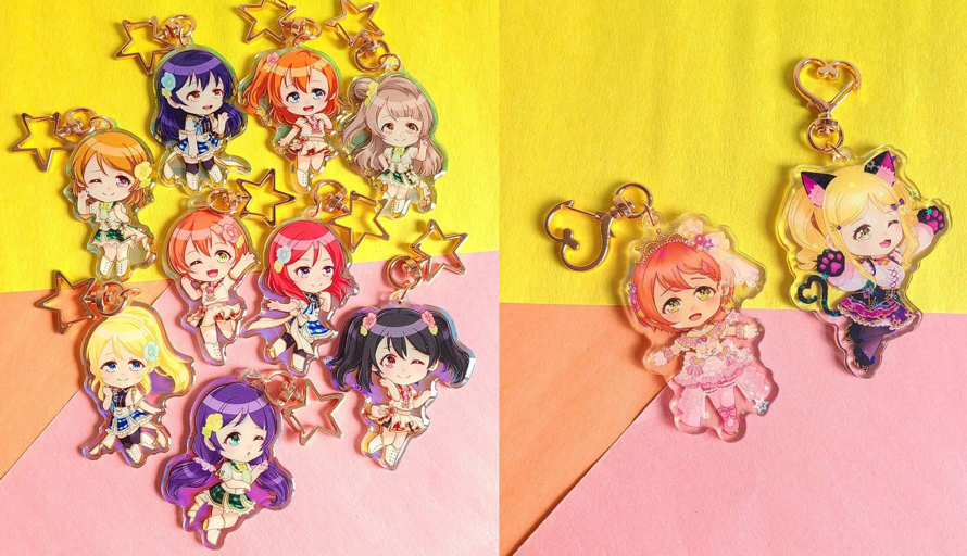 I made some acrylic charms of the love live chibis I drew! I'm so happy with how they turned out...