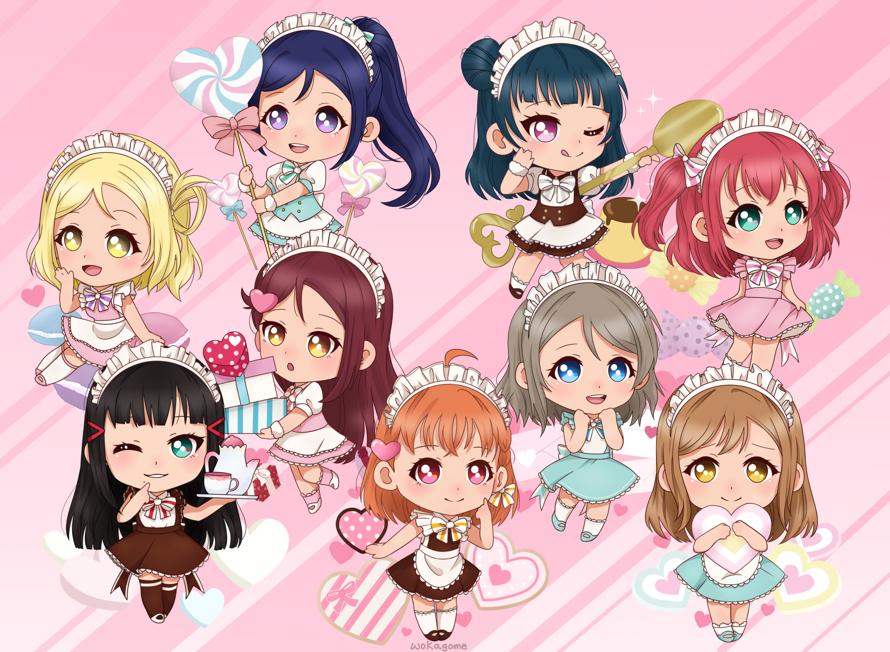 Drew some Aquors chibis !  Based on those school idol diary charms          pls commission me