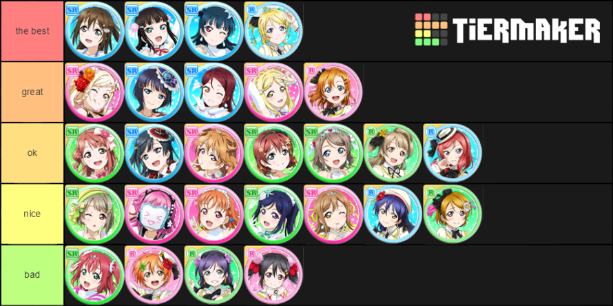 this is all my ranking so plss do not be angry  everyone has opinions