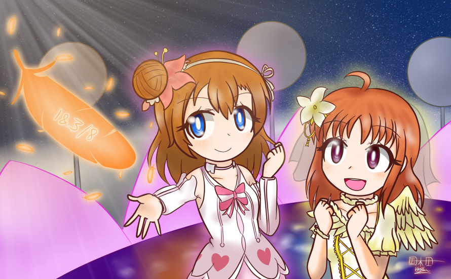 Lumping both Honoka and Chika into one.  Happy birthday, Chika~! Happy almost birthday, Honoka~!